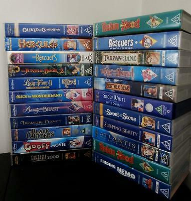 Walt Disney VHS Collection - All Movies,   Rescuers, Beauty and the Beast + MORE