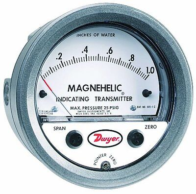 """Dwyer Magnehelic Series 605 Differential Pressure Indicating Transmitter, 0-20""""W"""