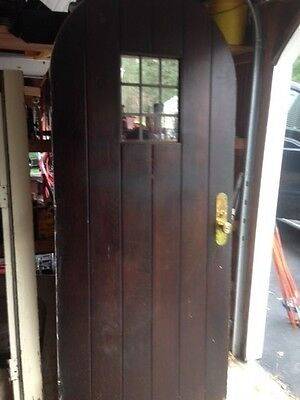Antique Vintage Arched Wood Door w Leaded Glass & Storm Door