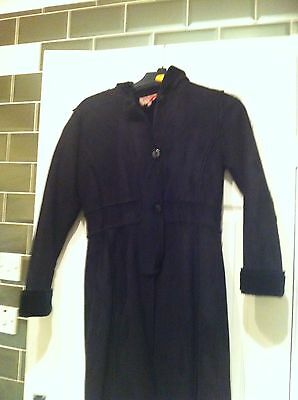 Girls Suede Effect / Faux Fur Coat Black Age 11-12