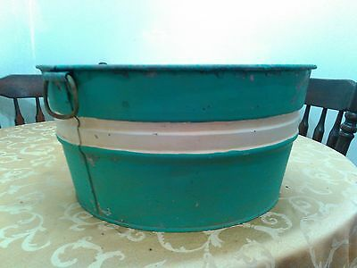 Antique Cw-0 Stamped Tin Wash Basin/plant Container With Handles 18+''wide X 9''