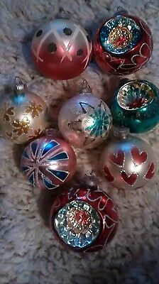 West Germany Glass Christmas Ornaments Lot (8)