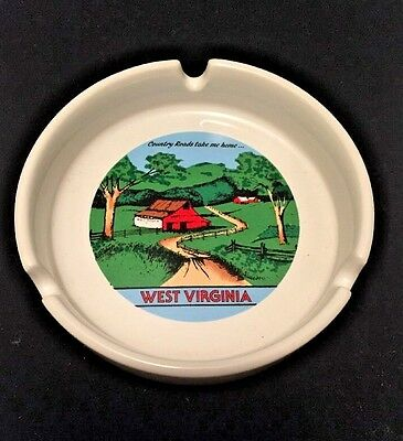 Souvenir West Virginia Country Roads Ceramic Ashtray Full Color Graphics White
