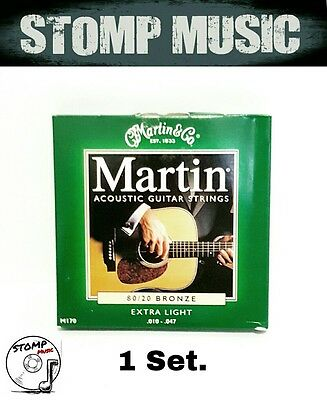 Martin Acoustic 80/20 Bronze Extra Light Gauge  10-47 Guitar Strings M170 1 Set