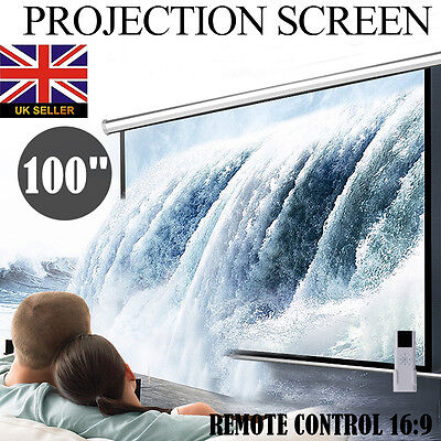 """100"""" Inch Electric Motorised Projector Screen 16:9 Home Cinema 3D Projection"""