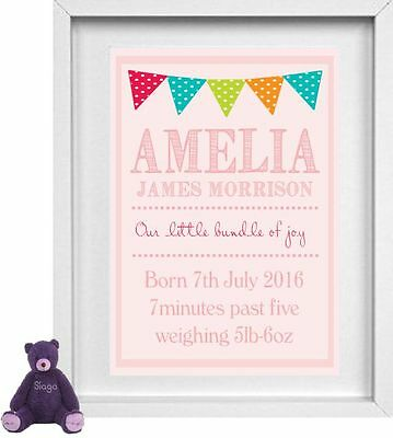 NEW BORN BABY GIRL | Nursery Picture | Personalised | Pink | Gift |  | (NP148)