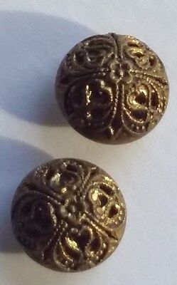Pair Old Brass Metal FIligree Buttons Vintage or Antique