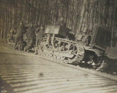 """1918 WWI Soldiers w/Tank, Destroyed France Field, Two Photographs 3.5 x 2.5"""""""