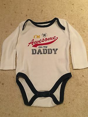 Baby Boy Long Sleeve Body Suit. I'm Awesome Like My Daddy 3-6 Months.