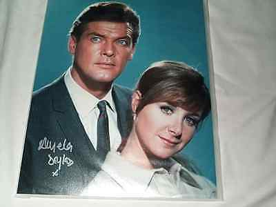 "Angela Douglas Signed Vintage Photo Carry On Film Star with Roger Moore 10"" x 8"""