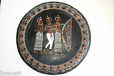 Egyptian Antique Hand Made Pharaonic Copper Tray Wall Charger Plate Large 16""