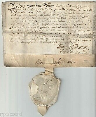 1675 Early Vellum Latin British Document On Two Pages With A Seal