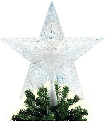 Holiday White Battery-Operated LED Lighted Pentagram Star Christmas Tree Topper