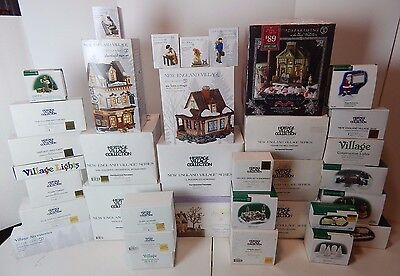 Dept 56 New England Village Lot of 35 Buildings & Accessories Good Condition