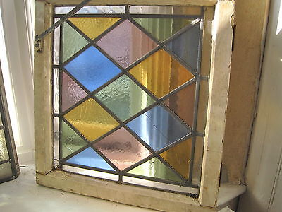 Stained Glass Window Diamond Design Lovely Vintage Rare