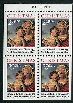 United States 1992 Christmas booklet block of four MUH