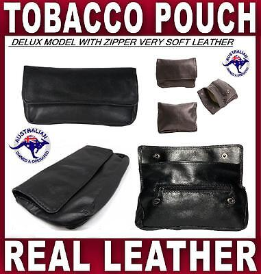 Tobacco Pouch Delux Nappa Soft Leather Smoke Cigarette Case Roller Filters Paper