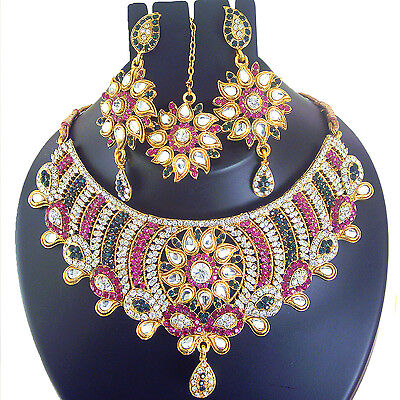 Indian Bollywood Jewelry Bridal Necklace Gold Ethnic Traditional Earring Set T51