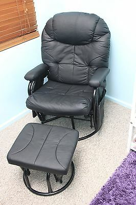 Valco Seville glider rocker chair and ottoman (black) - as new condition