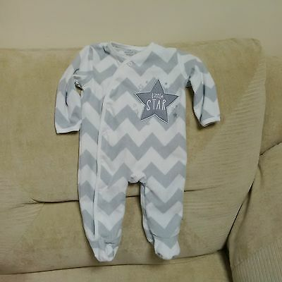 Unisex fleece sleepsuit aged 3-6 months - grey and white with stars