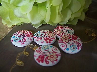 5 Beautiful  Blossom  Wooden Buttons