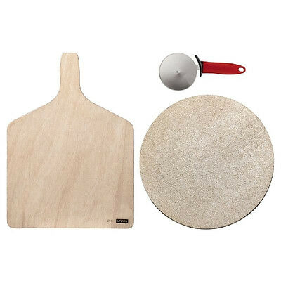 Bodum Bistro Pizza Set - Baking Stone, Cutting Board & Wheel Cutter (Red Handle)