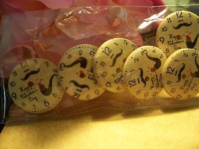 6 Lovely Time piece  Wooden Buttons