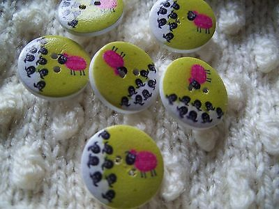 6 Beautiful Pink Sheep  Wooden Buttons
