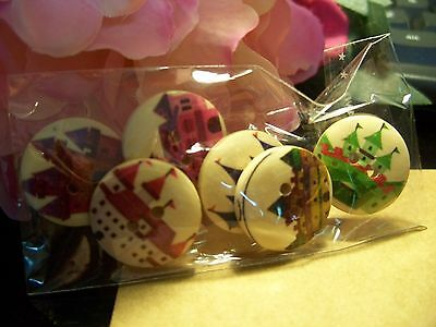 6 mixed Lovely Fairy Castle Wooden Buttons