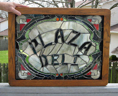 vintage ADVERTISING **Stained Glass Window**  PLAZA DELI
