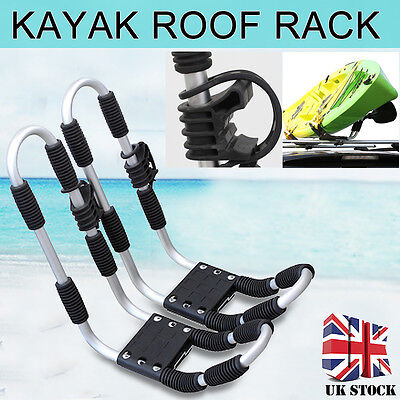 Universal Heavy Duty Kayak Carrier Roof Rack Double J Bar Pair Includes Straps