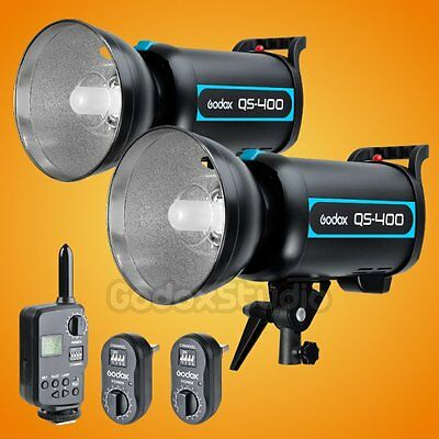 2X Godox QS-400 400W Studio Lighting Flash Strobe Light Lamp w/ FT-16 Trigger