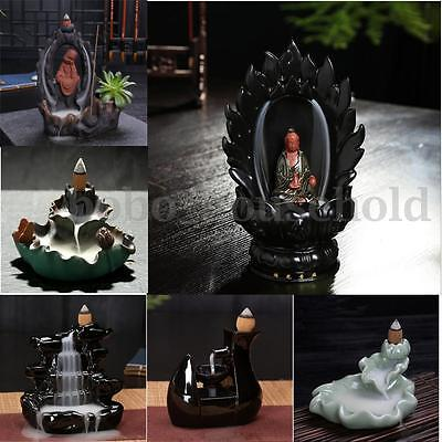 New Porcelain Backflow Ceramic Cone Incense Burner Holder Buddhist with Cones