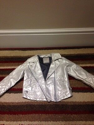 Girls Silver Metallic Leather Like Next Jacket Age 3/4 Years