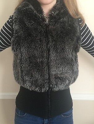 Girls GREY Fake Faux 'VALESI' HOODIE Waistcoat Age 14 Size SMALL From BOUTIQUE