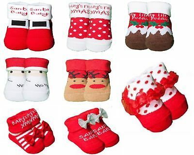 2/3 Newborn/Infant/Baby boy/girl Cotton Xmas Festive Socks Slippers gift bag
