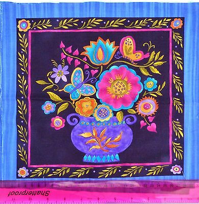 ,fabric,for quilting,craft,picture 30x30cm,blue,vase with flower,birds