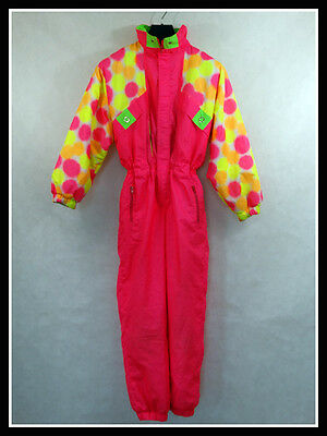 Vintage Retro Ski Suit All in One 80'S 90'S Size: 146 Neo Fluo
