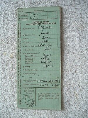 Vintage Old Vehicle Log Book Ford Squire 1958 Automobilia