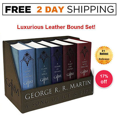GAME OF THRONES BOX SET  LEATHER Bound Boxed George R. R. Martin 5 Book COMPLETE