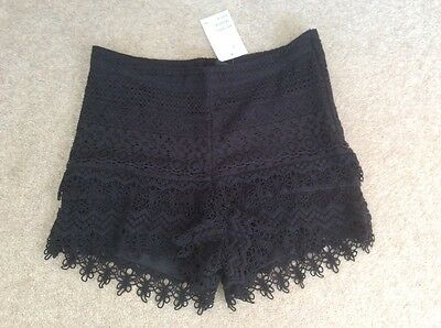 H and M Lacy Black Shorts. UK Size 8