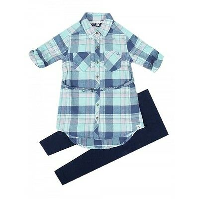 Girls Check Blue Pink Navy Shirt with Belt and Leggings Outfit Set 4 - 14 Years