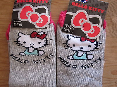 "Bnwt-2 Pairs ""hello Kitty"" Grey Socks  - Shoe Size 4- 5 1/2"