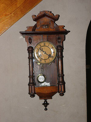 Clock ANTIQUE JUNGHANS A13  WOODEN WALL Regulator vienne Chime horloge old