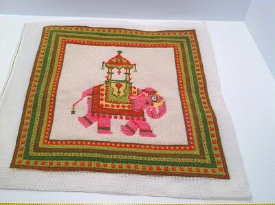 VINTAGE NEEDLEPOINT PINK ELEAPHANT NEVER USED TAPESTRY for Chair or Pillow