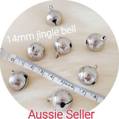 Large SILVER Jingle Bells DIY Charm Craft Jewellery pet dog cat collar 14mm bell