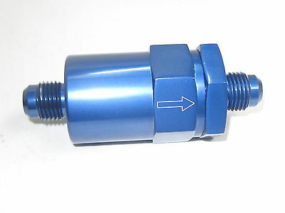 06 an  Show  Polished Fuel Filter, inline cleanable element  Blue anodized Alum
