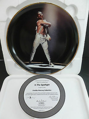 "Danbury Mint 8"" Plate ""freddie Mercury"" Queen ""in The Spotlight"" New Boxed & Coa"