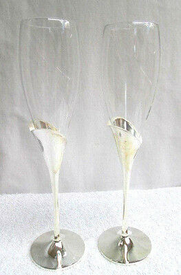 Lenox Wedding Promises Pair Heart Flute Champagne Toasting Glasses Silver Glass