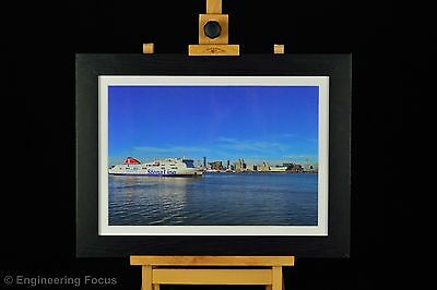Framed Cityscape print Liverpool Waterfront, black frame